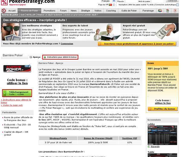 Site de poker francais bonus sans depot